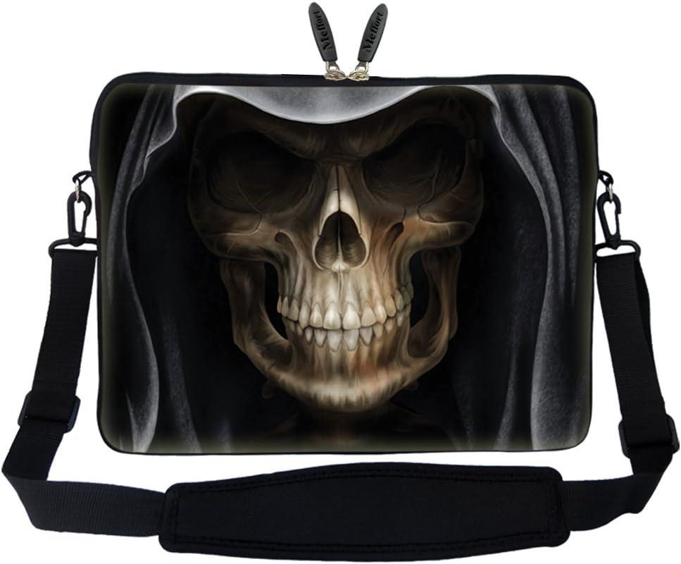 Meffort Inc 17 17.3 inch Neoprene Laptop Sleeve Bag Carrying Case with Hidden Handle and Adjustable Shoulder Strap - Skull Face Design