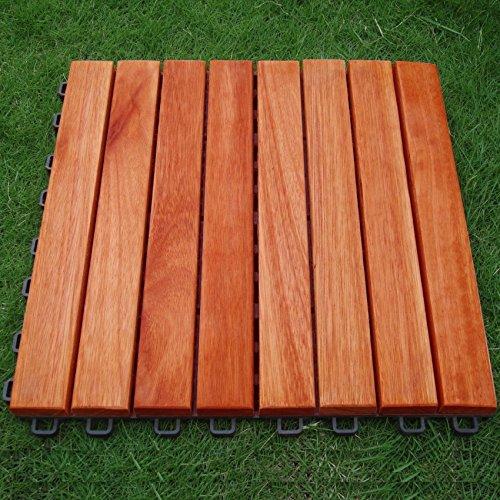 (V375 Eucalyptus Hardwood - 8 Straight Slat Design - Interlocking Wood Deck Tile by Vifah)