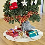 Hffls Christmas Tree Skirt 36 Inch Burlap Tree Skirt Shine Gold Edge And Logo Printed WIth 4 Cute Christmas Theme Ornaments Christmas Decorations Indoor Outdoor