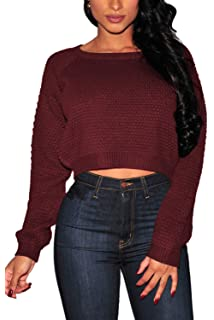 1ccb4c92c0 PrettyGuide Women s Sweater Long Sleeve Eyelet Cable Lace Up Crop ...