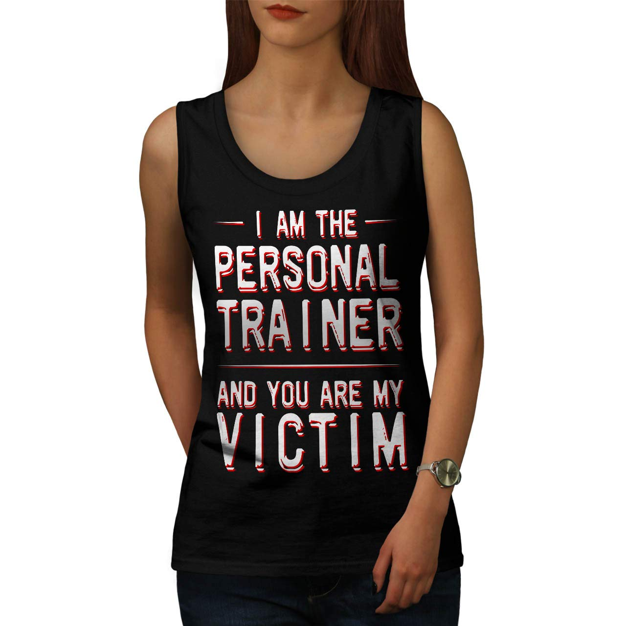 d2f63aa3a Amazon.com: wellcoda Personal Trainer Womens Tank Top, Victim Funny Active  Sports Shirt: Clothing