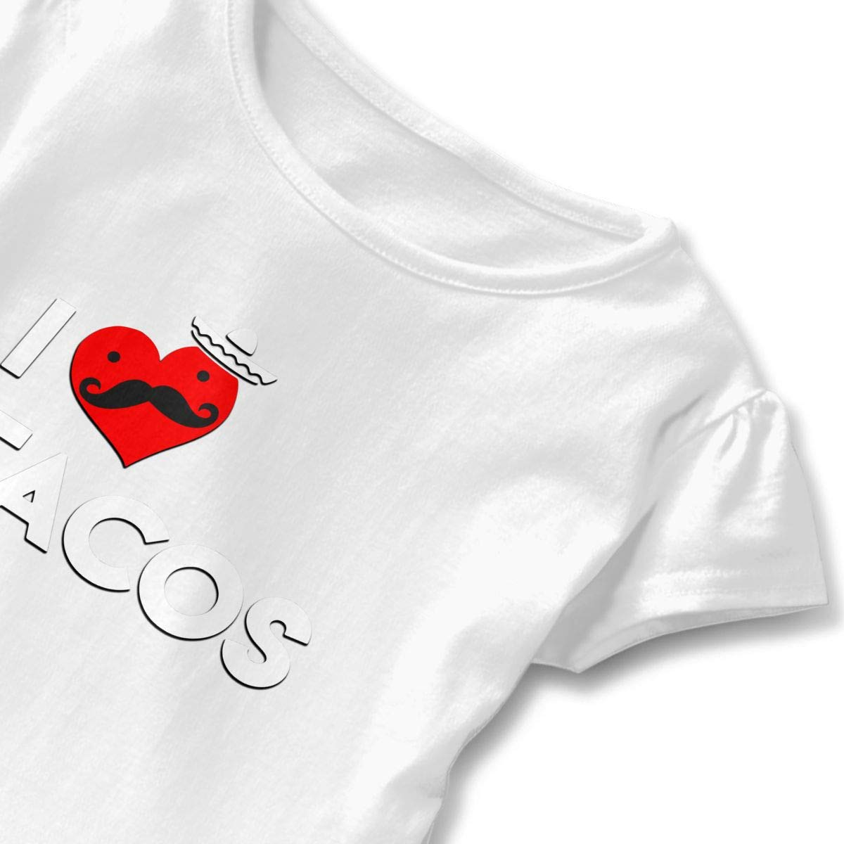 I Love Tacos Toddler Baby Girls Cotton Ruffle Short Sleeve Top Basic T-Shirt 2-6T