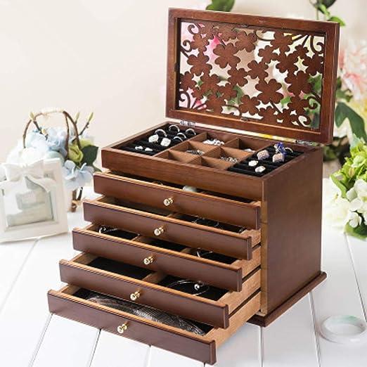 Capa 6 Grande Caja De Madera para Joyas,Desmontable Caja Organizadora De Joyas con 5 Cajones Regalo para Amado Unos-Marron Oscuro 31.5x19.5x26.5cm(12x8x10inch): Amazon.es: Hogar
