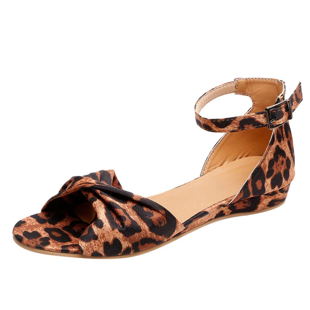 Women's Summer Bow Sandals Buckle Strap Open Toe Beach Breathable Leopard Flats Sandals Rome Shoes (Brown, US:6.5)