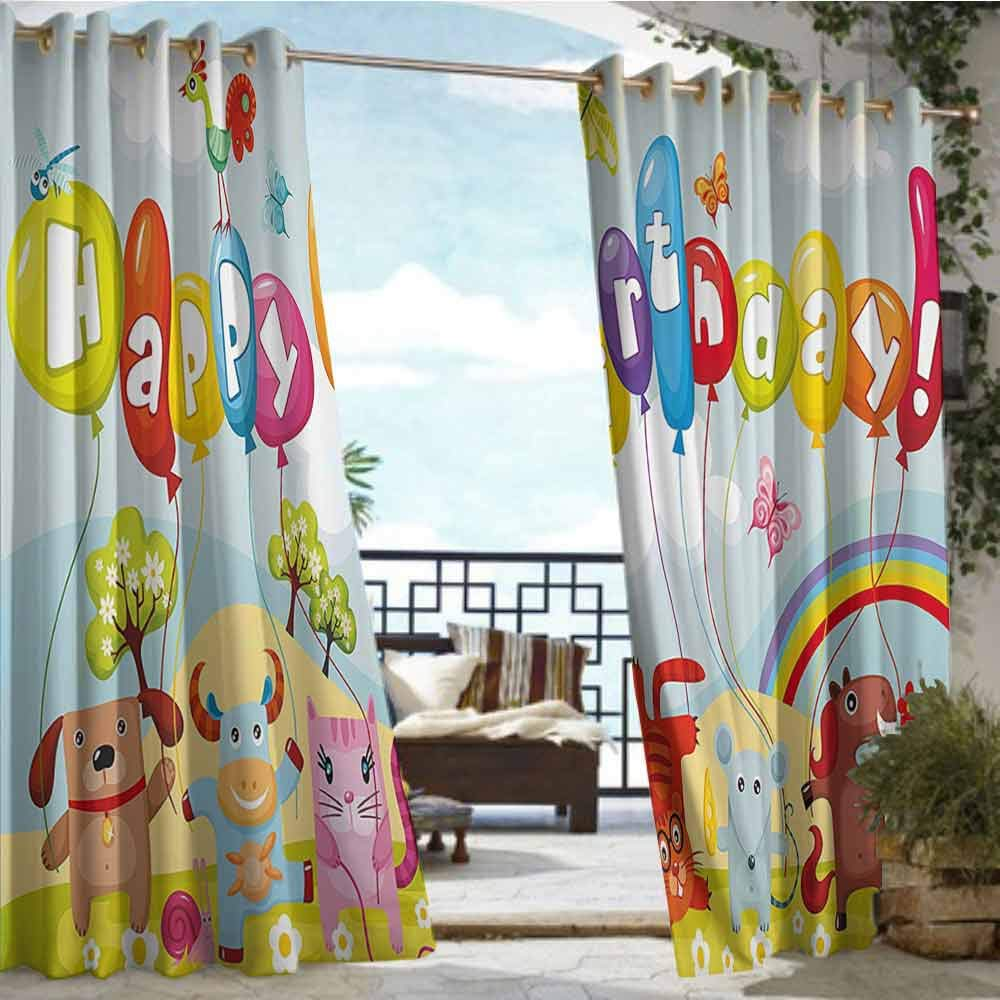 Andrea Sam Patio Curtains Birthday Decorations for Kids,Farm Life Animals Balloons Rainbow Clouds Village Theme Party,Multicolor,W84 xL96 Silver Grommet Top Drape by Andrea Sam
