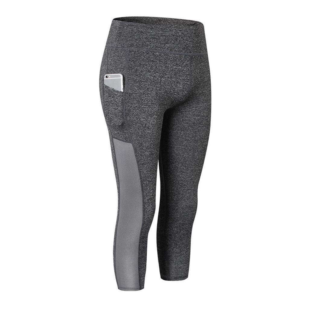 Damen Sporthose Blickdicht Sport Leggings Yogahose Lange Laufhose mit Taschen