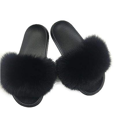 22a78e433 SmarketL High end 2019 New Women Fur Slippers Fluffy Real Fox Hair Slides  Flat Soft Indoor
