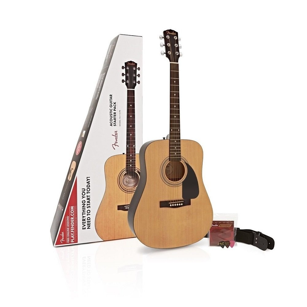 Fender FA-115 Beginner Dreadnought Pack, Natural with Strings, Strap, and Picks by Fender