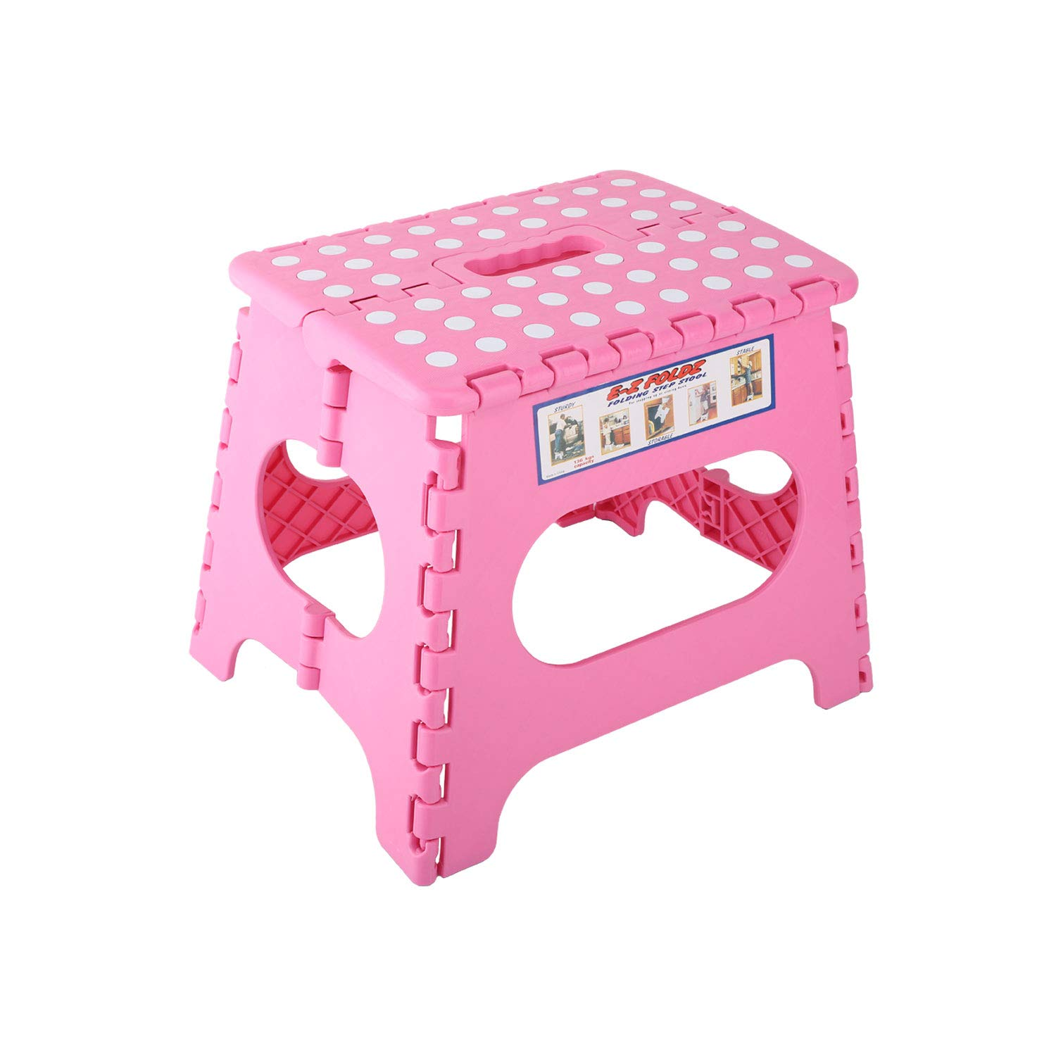 Kids Adults Use Portable Foldable Step Stool Compact Chair Seat with Non-Slip Surface for Home Bathroom Kitchen Garden etc Housolution Folding Stool Pink