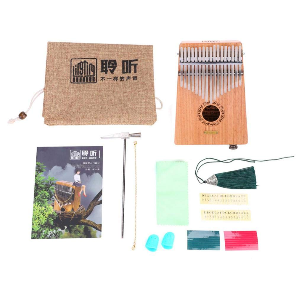 Wooden Kalimba 17 Keys Finger Thumb Piano Thumb Percussion Keyboard Piano with Tuning Hammer and More(Electric Box) by Bnineteenteam
