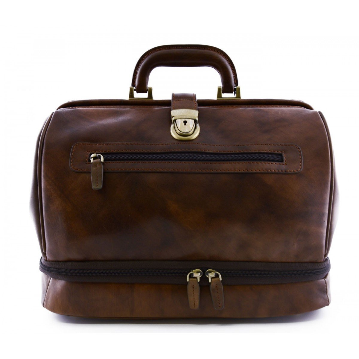 Made In Italy Genuine Leather Doctor Bag, Double Bottom And Front Pocket Color Brown - Business Bag   B0162924G0