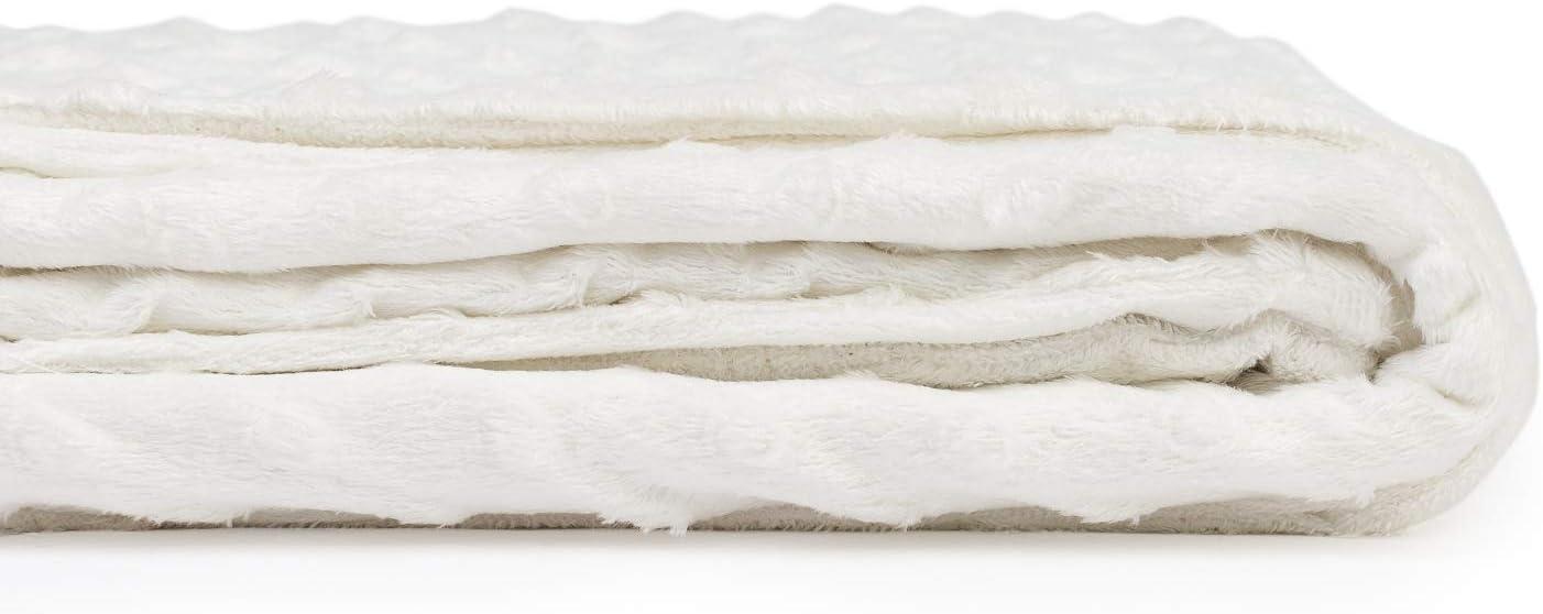 Couverture pour b/éb/é en Velours Toucher Soie ou Vison 440 g//m/² 75x100 Lace Blanc