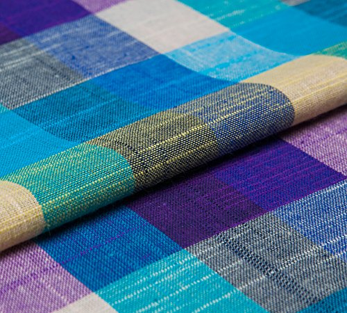 Yarn-Dyed Pure Linen Plaid Fabric, Countryside Style, Checked Pattern, Purple Hue, 57.08
