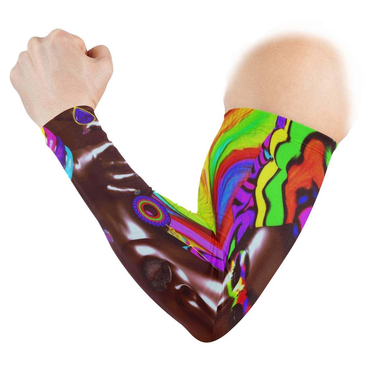 Arm Sleeves Colors In Japanese Style Leaf Wheel Mens Sun UV Protection Sleeves Arm Warmers Cool Long Set Covers