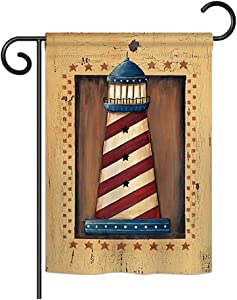 Breeze Decor G157056-BO Patriotic Lighthouse Coastal Nautical Decorative Vertical Garden Flag, 13