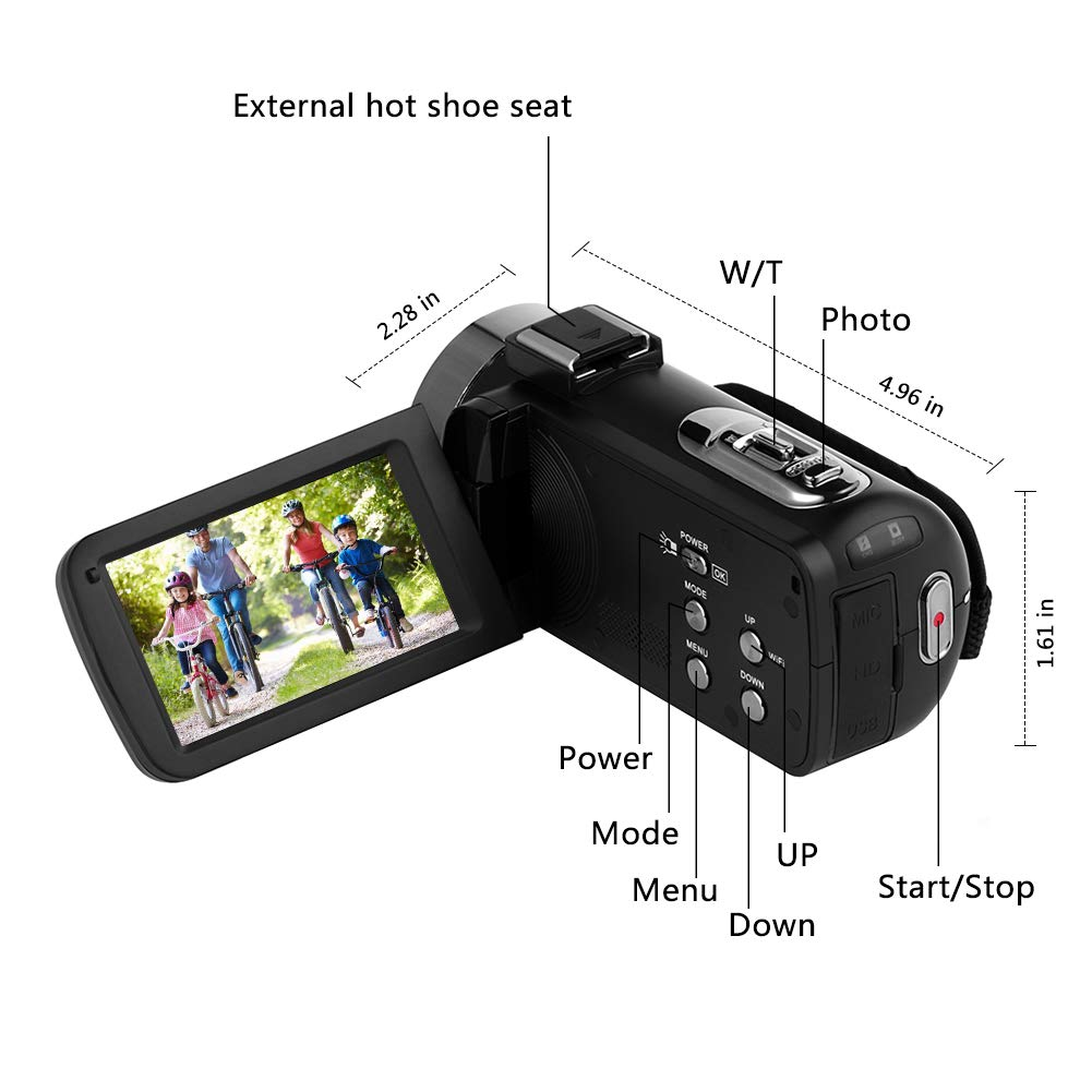 Digital Video Camera WiFi Camcorder Full HD 1080P 30FPS 16X Digital Zoom Vlogging Camera with Microphone 3.00 Rotatable Touch Screen Support Remote Control Time-Lapse Photography SUNLEA v2