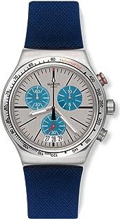 Swatch MenS Blau Me On Steel Quartz 43 Mm Watch Yvs435