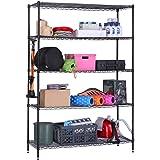 CallasCommercial Grade 5-Tier Height Adjustable Shelving Unit, Load Capacity 100 kg per Shelf (Black , 180/ 90 /35 cm)