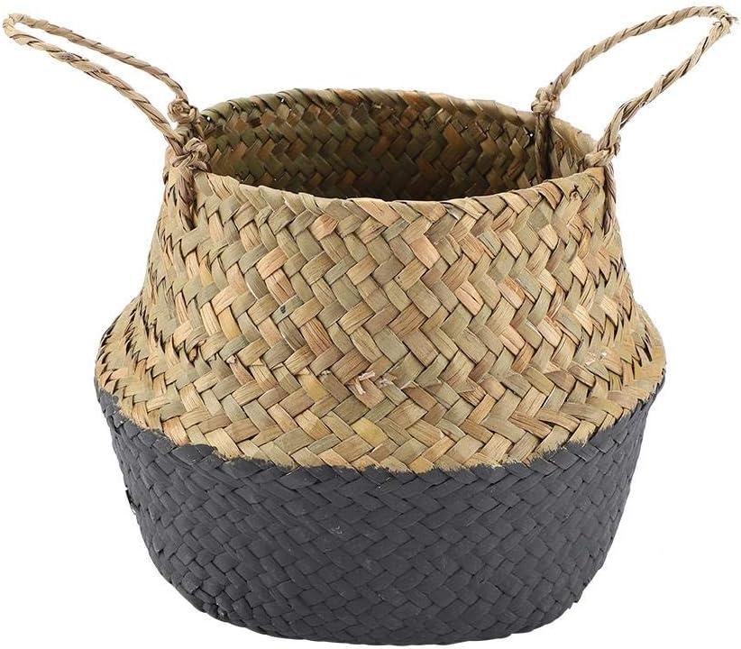 Black Storage Basket Delaman Foldable Natural Seagrass Woven Clothes Storage Organizer Flower Plant Pot Basket 1PC
