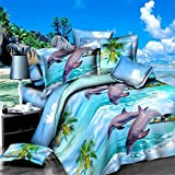 wiwanshop 4pcs Polyester Fiber 3D Dolphin Ocean View Reactive Dyeing Bedding Sets Queen Ki