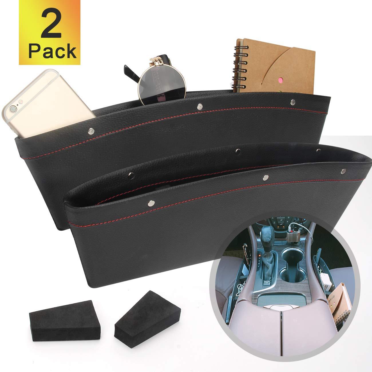 Coitak 2 PCS Car Seat Gap Organizer, PU Full Leather Car Seat Console Organizer, Black Car Seat Gap Filler by Coitak