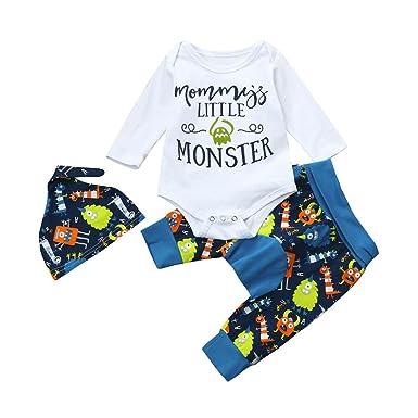 Sensail Costume 3 Pièces Chemise Alphabet Bébé Ensemble Barboteuse Mommy s  Little Monster + Pantalon Imprimé Monstre d28f48ea977