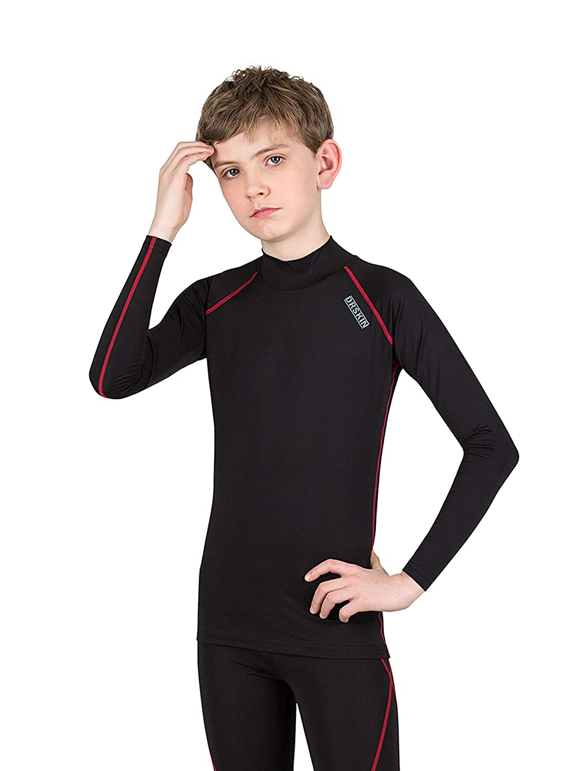 Long Sleeve Athletic Base Layer Compression Underwear Shirt or Tights Boys /& Girls DRSKIN Kids Unisex-