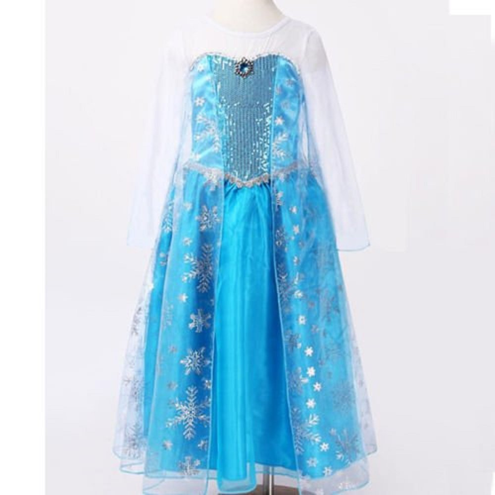 Frozen Queen Elsa Syle Girls Princess Fancy Dress Costume *Free ...