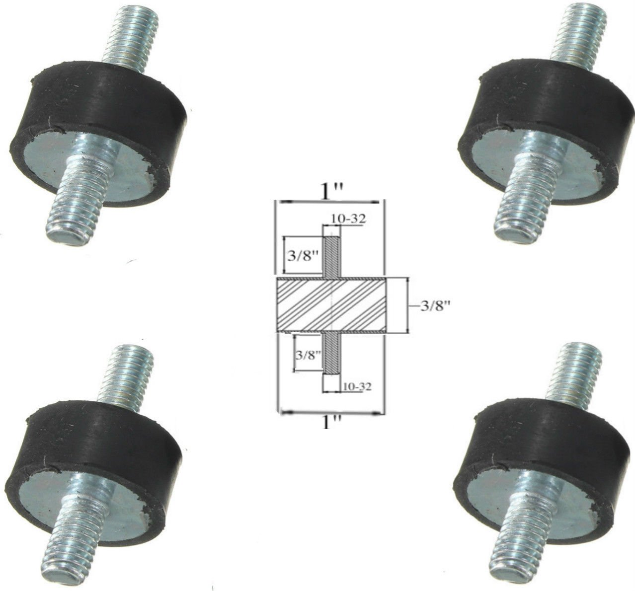 Lot of (4) Rubber Anti Vibration Isolator Mounts Rubber Height 3/8'' x 1'' Rubber Diameter - Studs 10-32 x 3/8'' Length