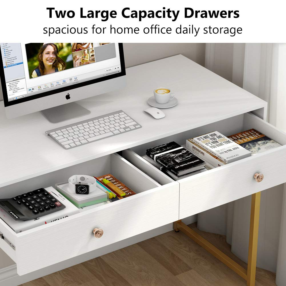 Tribesigns Computer Desk, Modern Simple Home Office Gold Desk Study Table Writing Desk Workstation with 2 Storage Drawers, Makeup Vanity Console Table (47 inch, White) by Tribesigns (Image #6)