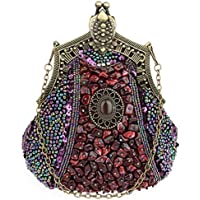 Ladies Palace Vintage Rhinestone Beaded Wedding/Party Evening Bag Clutch Bags (Purple)