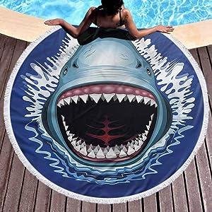 "prunushome Sand Free Beach Towel Shark Popular Handicrafts Beach Towel Attack Open Mouth Bite with Tassel,High Color fastness (Diameter 59"")"