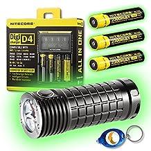 Olight SR Mini Intimidator 3 x CREE XM-L2 LED Flashlight - 2800 Lumen w/Free Keychain Light (SR Mini + 3x NL183 + D4 Charger + Keychain Light)