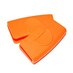 TECHEF Silicone Pot Holders/Pinch Grips/Oven Mitts (Set of 2) (Orange, Set of 2)