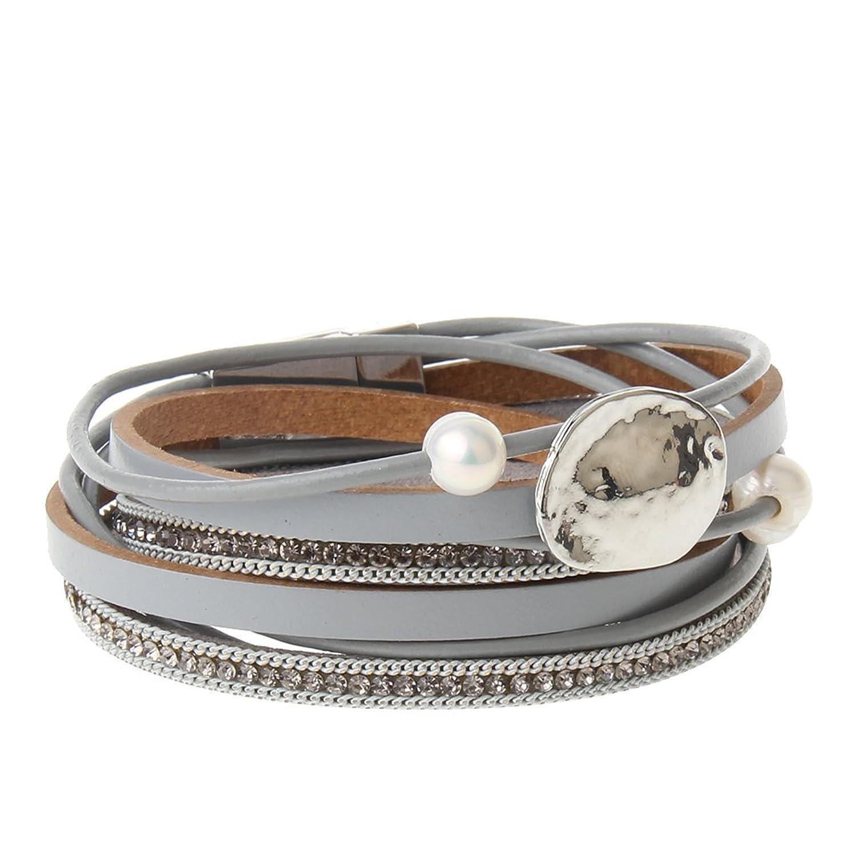 Women Womens Men Mens Multi-layer Pearl Rope Chain Braid Leather Bracelet Charm Cuff Wrap Bangle Magnetic Buckle Clasp Handmade Wristband Bracelets