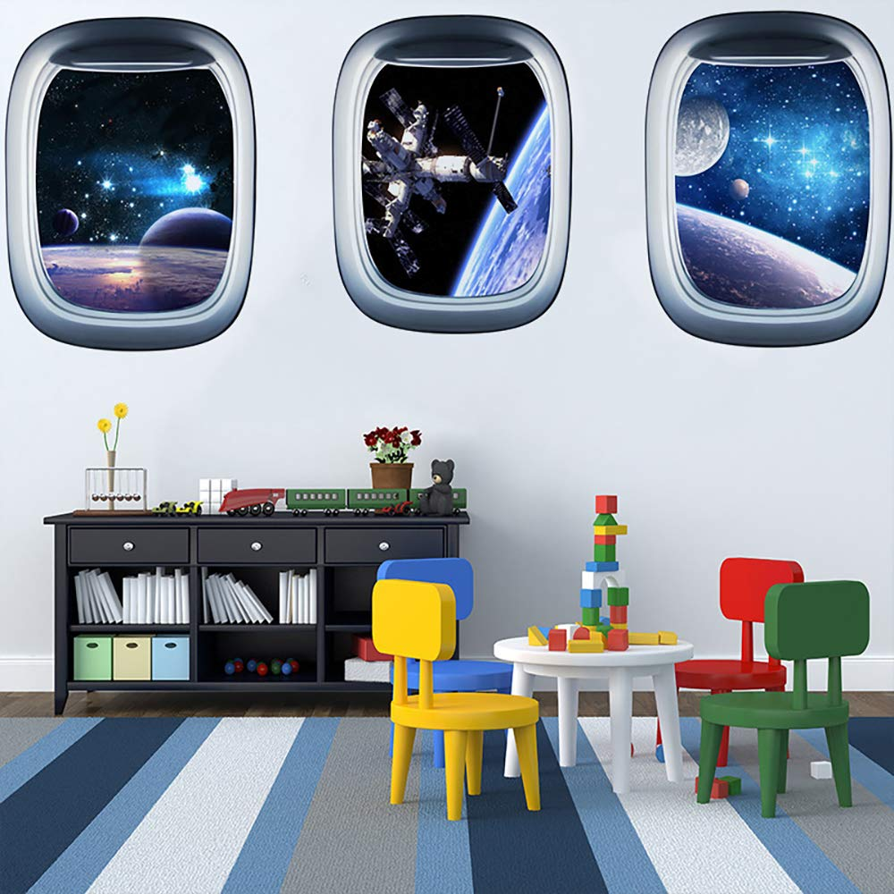 ITTA Set of 3 Space Capsule Window Wall Sticker 3D Astronaut Outer Space Mural Wall Decals for Bedroom Living Room Kids Room Home Decor by ITTA