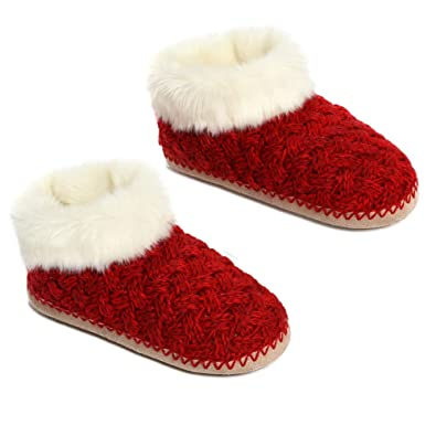 ce3d03390 MaaMgic Womens Girls Fuzzy Cable Knit House Slippers Shoes Plush Bedroom  Slippers, Red