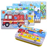 BBLIKE Jigsaw Wooden Puzzles Toy in a Box for Kids, Pack of 4 with Varying Degree of Difficulty Educational Learning Tool Best Birthday Present for Boys Girls (Transportation Series)
