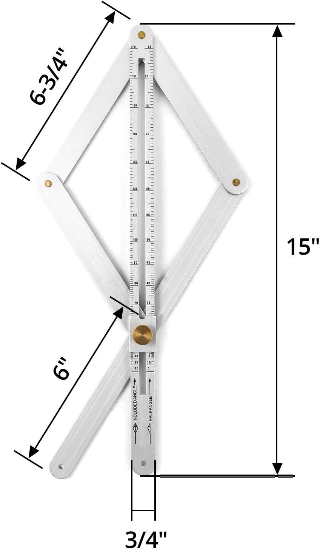 Corner Angle Finder QWORK Aluminum Alloy Bevel Corner Protractor Miter Angle Layout Measuring Ruler for Woodworking
