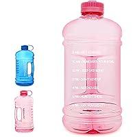 GEMFUL 3 Liter Big Motivational Water Bottle 0.8 Gallon with Time Marking (Pink)