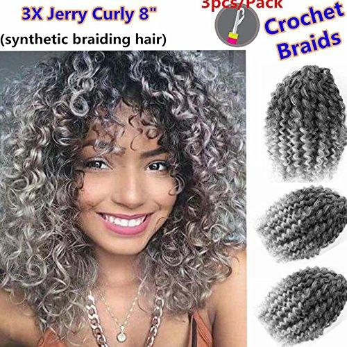 3 Packs/lot (Total 9 Bundles) Eunice Marlybob Braiding Hair Marlibob Crochet Braids Hair Extensions 3 Packs 8 Inch Short Synthetic Crochet Hair Kinky Curly Ombre Gray Extensions(8 inch, ombre gray)