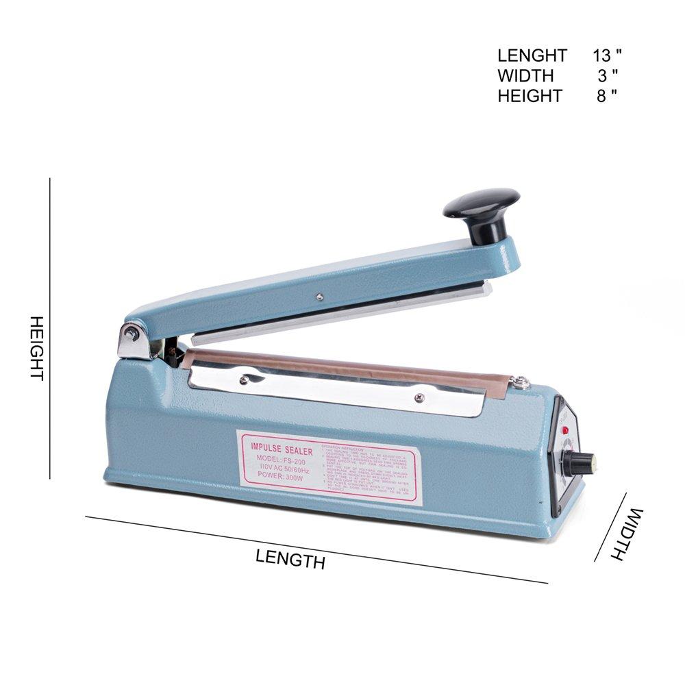 Metronic Impulse Bag Sealer Poly Bag Sealing Machine Heat Seal Closer with Repair Kit (8 inch) by Metronic (Image #2)
