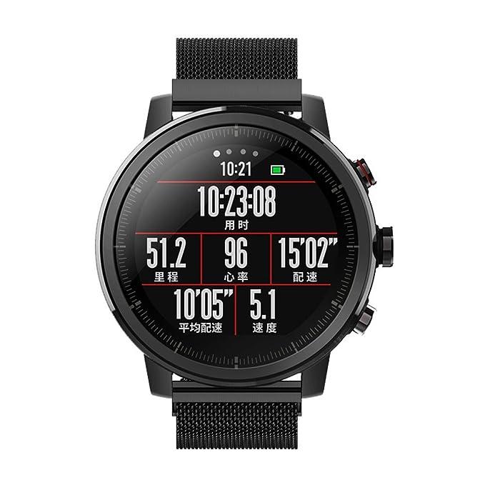 Correa de Reloj Reemplazo, YpingLonk Acero Inoxidable Lazo Magnético Milanés Malla Tejida para Huami Amazfit 2 GPS Watch Moda Pulsera Banda Relojes Edición ...