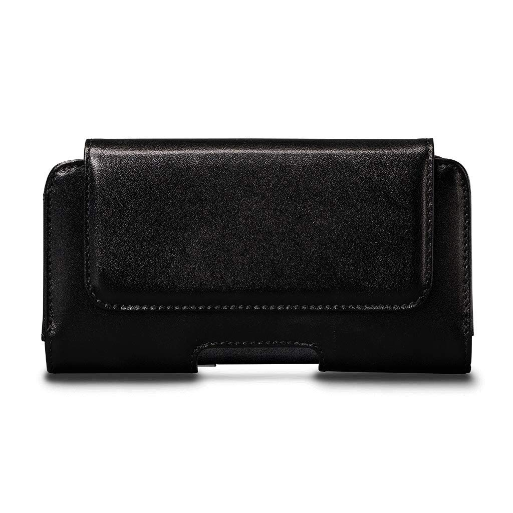 Magnetic Holster Premium Genuine Leather Pouch with Belt Clip Cell Phone Cover for Apple iPhone Xs & X 5.8'' - Black (Only Pouch case)