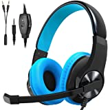 Headset Gaming for PS4 ,Xbox One Controller ,Wired Noise Isolation, Over-Ear Headphones with Mic ,Stereo Gamer Headphones 3.5mm(Blue)