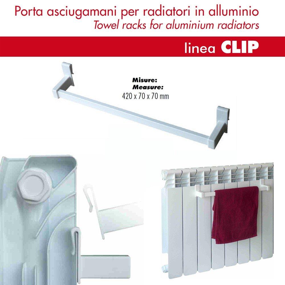 Appendino Universale CLIP Porta Asciugamano per Radiatori in Alluminio Metallo Bianco L 42 cm Pika Shop