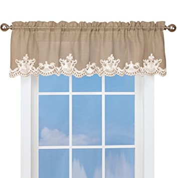 Burlap Curtain Valance With Lace Trim Rod Pocket Top