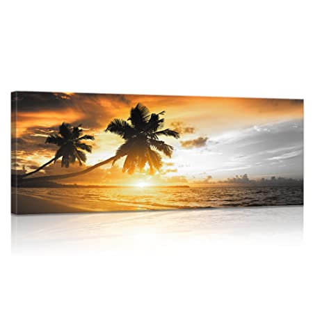 Visual Art Decor Large Coastal Style Canvas Walll Art Fancy Sunset Sea Beach Palm Tree Picture Prints Home Wall Decoration Framed and Stretched Artwork for Living Room Bedroom Office