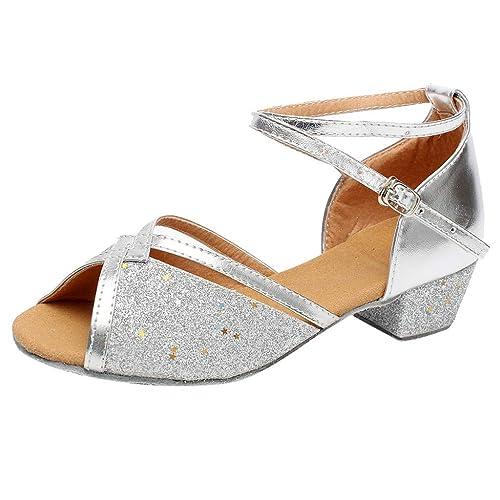 ad88374e3 Mitlfuny Zapatos de Baile de Tango Latino para Niños Bailarina Fiesta  Leopardo Princesa Sandalias Boca de