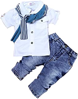 Hooyi Baby Boy Cotton Clothes Sets Children Short Sleeve T-Shirt +Jeans Pants +Scarf Outfits